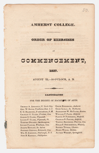 Amherst College Commencement program, 1827 August 22