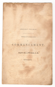 Amherst College Commencement program, 1837 August 23