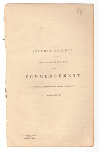 Amherst College Commencement program, 1838 August 22