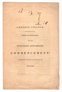 Amherst College Commencement program, 1841 July 22