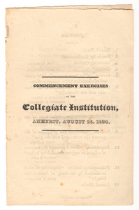 Amherst College Commencement program, 1824 August 25