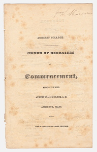 Amherst College Commencement program, 1828 August 27