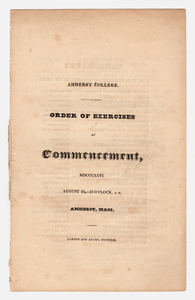 Amherst College Commencement program, 1826 August 23