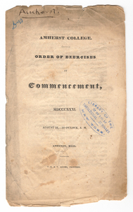 Amherst College Commencement program, 1831 August 24