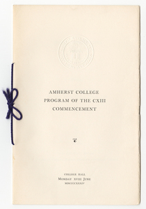 Amherst College Commencement program, 1934 June 18