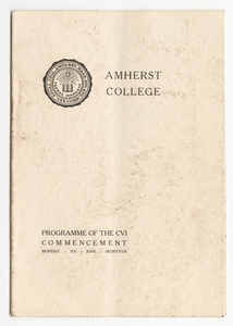 Amherst College Commencement program, 1927 June 20