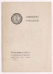 Amherst College Commencement program, 1926 June 21