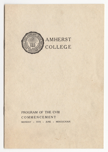 Amherst College Commencement program, 1929 June 17
