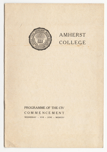 Amherst College Commencement program, 1925 June 17