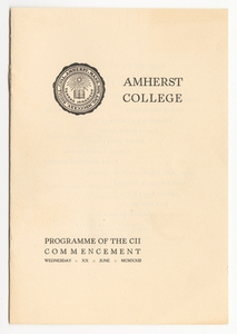 Amherst College Commencement program, 1923 June 20