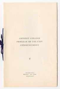 Amherst College Commencement program, 1935 June 17
