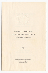 Amherst College Commencement program, 1938 June 19