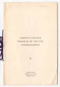 Amherst College Commencement program, 1936 June 15