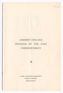 Amherst College Commencement program, 1942 May 17
