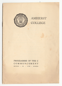Amherst College Commencement program, 1921 June 20
