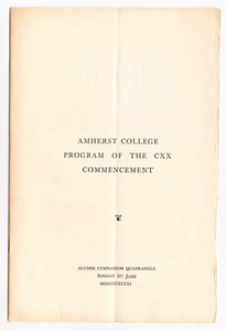 Amherst College Commencement program, 1941 June 15