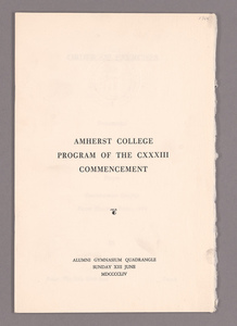 Amherst College Commencement program, 1954 June 13