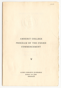 Amherst College Commencement program, 1953 June 14