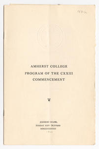 Amherst College Commencement program, 1943 October 24