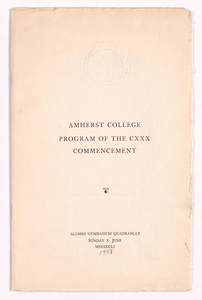 Amherst College Commencement program, 1951 June 10