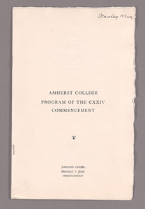 Amherst College Commencement program, 1944 June 5