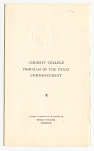 Amherst College Commencement program, 1952 June 8