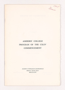 Amherst College Commencement program, 1965 May 28