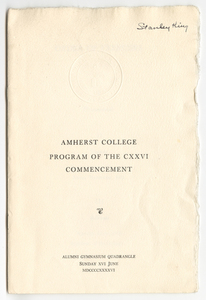 Amherst College Commencement program, 1946 June 16