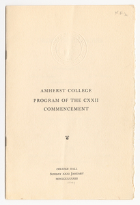 Amherst College Commencement program, 1943 January 31