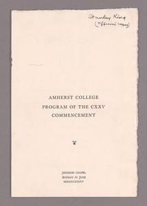 Amherst College Commencement program, 1945 June 3