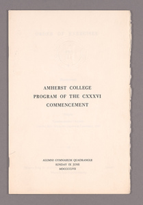 Amherst College Commencement program, 1957 June 9