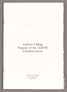 Amherst College Commencement program, 1989 May 28