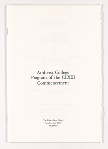Amherst College Commencement program, 1992 May 24