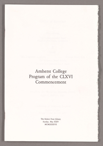 Amherst College Commencement program, 1987 May 24