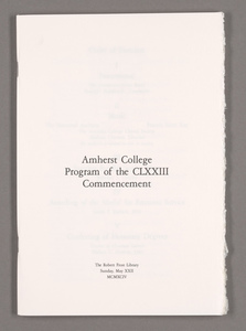 Amherst College Commencement program, 1994 May 22