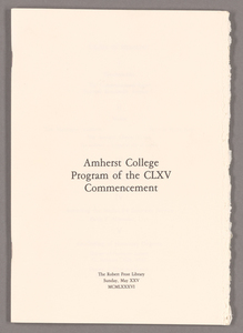 Amherst College Commencement program, 1986 May 25