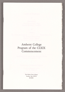 Amherst College Commencement program, 1990 May 27