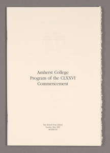 Amherst College Commencement program, 1997 May 25