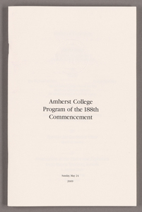 Amherst College Commencement program, 2009 May 24