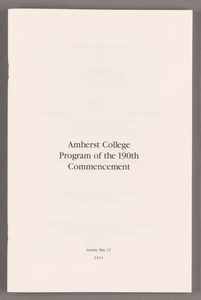 Amherst College Commencement program, 2011 May 22