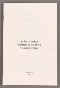 Amherst College Commencement program, 2010 May 23