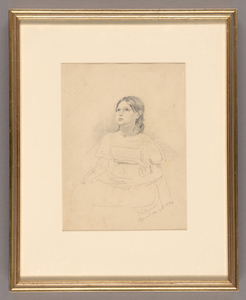 Henry John Van Lennep framed pencil drawing of a seated young girl, 1834
