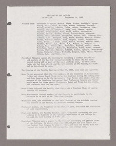 Amherst College faculty meeting minutes and Committe of Six meeting minutes 1965/1966