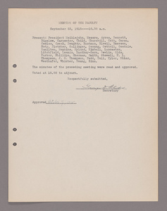 Amherst College faculty meeting minutes 1915/1916