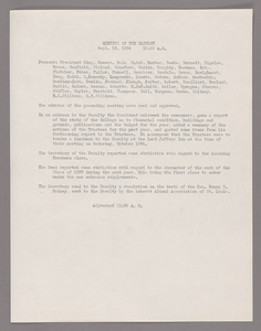 Amherst College faculty meeting minutes and Committe of Six meeting minutes 1934/1935