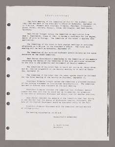 Amherst College faculty meeting minutes and Committe of Six meeting minutes 1961/1962