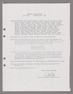 Amherst College faculty meeting minutes and Committe of Six meeting minutes 1951/1952