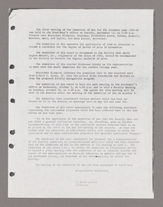 Amherst College faculty meeting minutes and Committe of Six meeting minutes 1960/1961