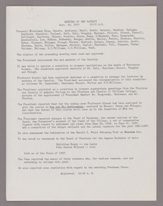 Amherst College faculty meeting minutes and Committe of Six meeting minutes 1937/1938