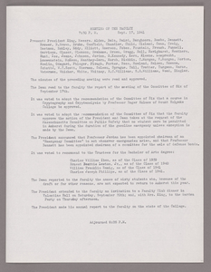 Amherst College faculty meeting minutes and Committe of Six meeting minutes 1941/1942
